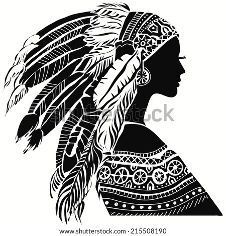 Young woman in costume of American Indian. Silhouette of beautiful Indian women - stock vector