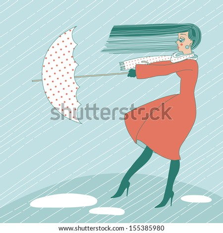 Young woman in the rain trying to hold her umbrella - stock vector