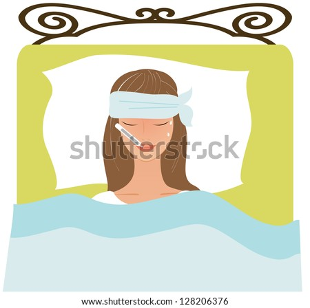 Young woman laying bad not feeling stock vector royalty free young woman laying in a bad not feeling well thecheapjerseys Image collections