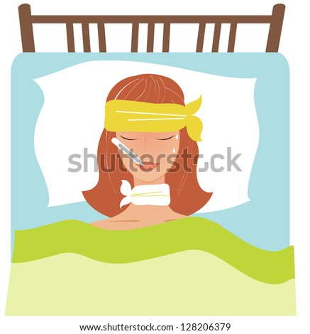 Young woman laying bad not feeling stock vector 128206379 shutterstock young woman laying in a bad not feeling well altavistaventures Gallery