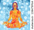 Young woman made of fire meditates on blue water with air bubbles background vector illustration - stock