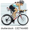 Young woman on bicycle in a triathlon. - stock vector
