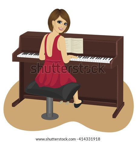 young woman playing brown upright piano looking over shoulder