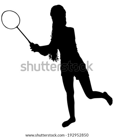 young woman playing tennis, vector