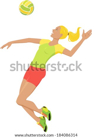 Young woman playing volleyball, jumping and hitting a ball, isolated on white - stock vector