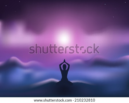Young woman practicing meditation in a lotus posture with blurred mountain background vector illustration