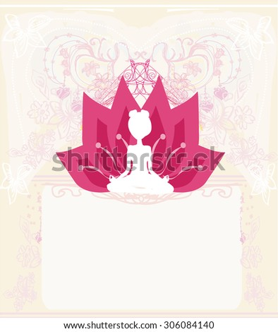 Young woman practicing yoga, sitting in a lotus position - abstract background - stock vector