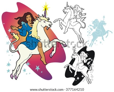 Young woman riding a unicorn. - stock vector