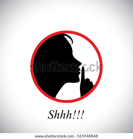 young woman saying shh & gesturing using her forefinger - concept vector. This graphic contains a young girl raising her hand  indicating to stop talking, making noise & to be silent - stock vector
