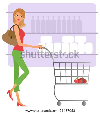 Young woman shopping for groceries - stock vector