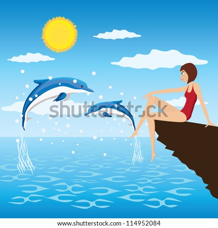 Young woman sit near a sea and look at the jumping dolphins. - stock vector