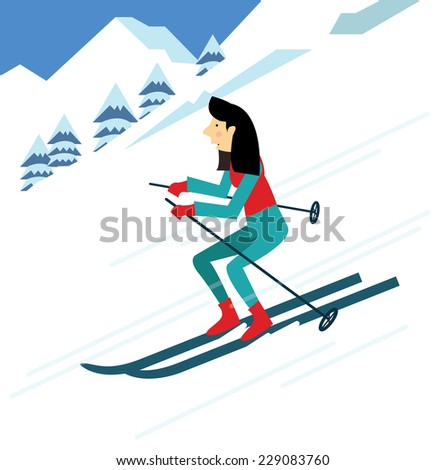 young woman skiing. flat character design. vector illustration - stock vector