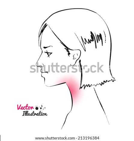Young woman. Sore throat. Vector illustration. - stock vector