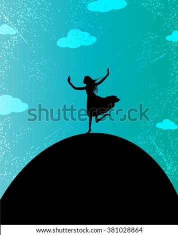 Young woman standing on a hill and praising God -Vector illustration - stock vector