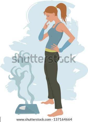Young Woman Scared Step On Bathroom Stock Vector 137164667