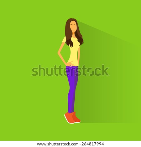 Young woman student casual clothes flat design vector illustration - stock vector