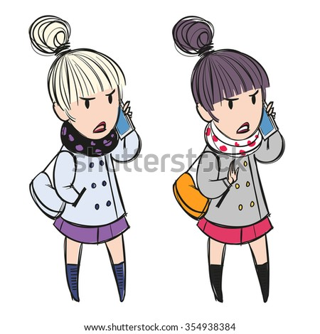 Young woman talking on the phone angrily showing disagreement; cartoon