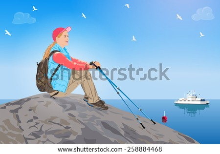 Young woman tourist sitting on rock and looking on sea. EPS 10 format. - stock vector