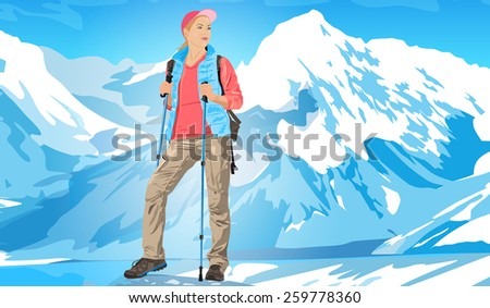 Young woman tourist standing on ice mountains. EPS 10 format. - stock vector