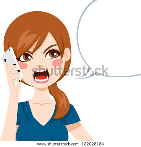Young woman upset screaming angry in a phone call conversation - stock vector