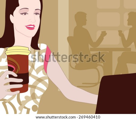 young woman using tablet computer in a cafe - stock vector