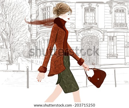 Young woman walking in a street of Paris - Vector illustration - stock vector