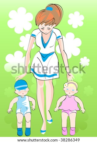 Young woman walking with their very young children - twins - stock vector