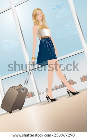 Young woman walking with travel bag. City and plane on background. EPS 10 format. - stock vector
