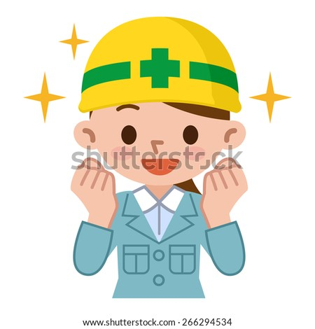 Young woman wearing a helmet has the guts pose - stock vector