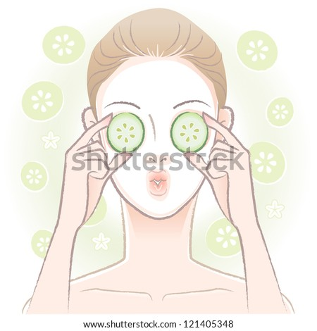 Young woman with facial mask  applying sliced cucumber on her eyes. Vector.Transparency,gradation is used in this EPS10 file. - stock vector