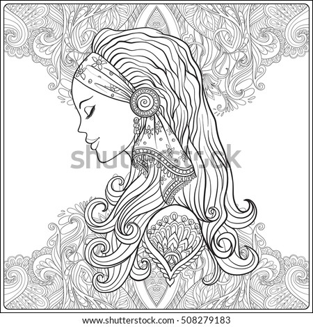 Young Woman With Long Hair In Medieval Costume On Decorative Pattern Background Portrait Profile