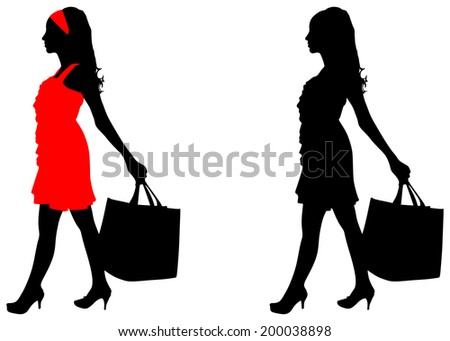 Young woman with shopping bag, vector