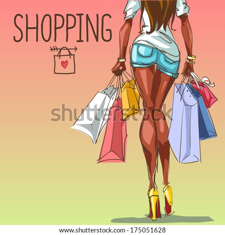 Young woman with shopping bags,  fashion background with space for text - stock vector