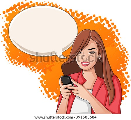 Young woman with smart phone. Teenager girl. - stock vector