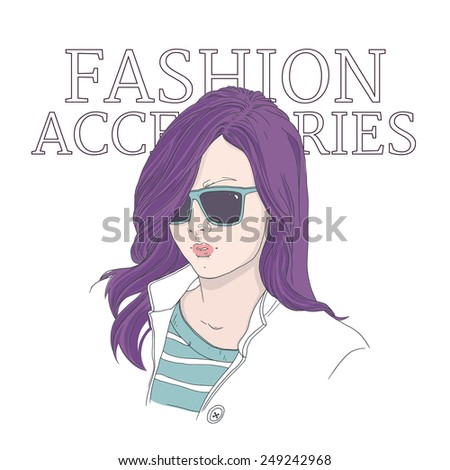 Young woman with sunglasses: hand drawn vector illustration. Hair dyeing and  fashion accessories. - stock vector