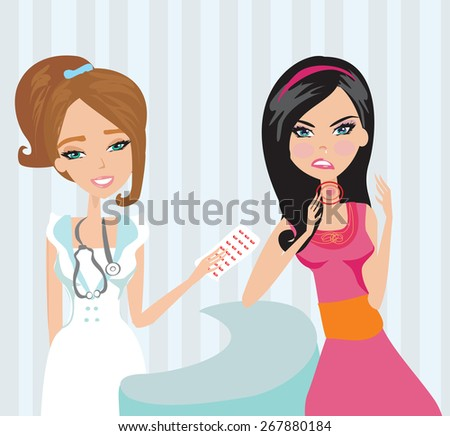 young woman with terrible throat pain. - stock vector