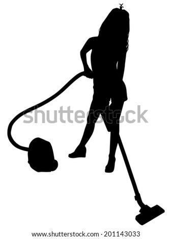 Young woman with vacuum cleaner, vector