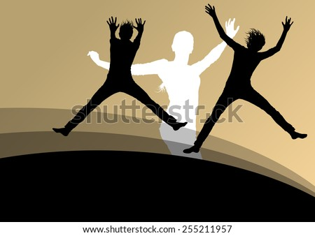 Young women active silhouettes jumping in the air abstract background vector illustration