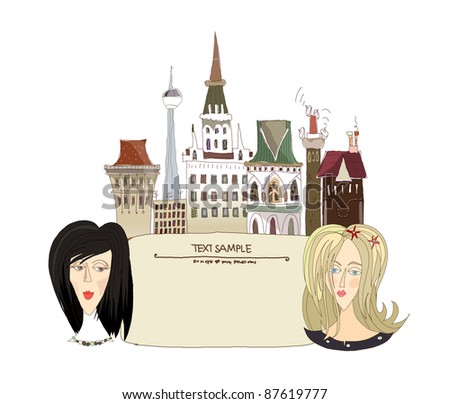 Young women and the city background - stock vector