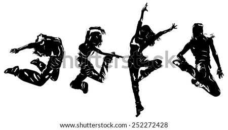 Young women dancers jumping. EPS 10 format. - stock vector