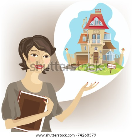 Young women estate agent with picture of detached house. - stock vector
