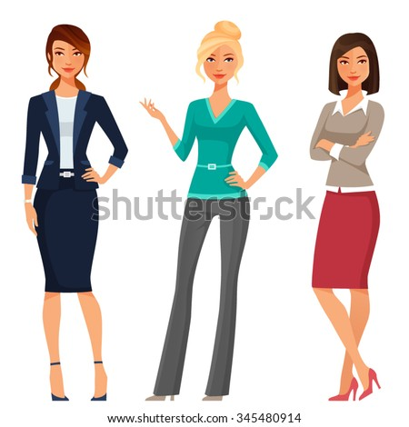 young women in elegant office clothes - stock vector