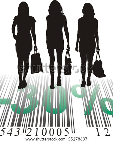 Young women purchased at a discount, vector illustration
