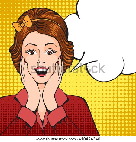 Young women with something pleasantly surprised. Pop Art girl. Vector illustration in retro style pop art. - stock vector