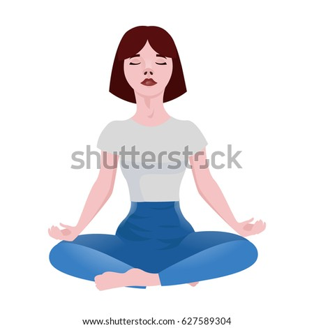 Young Yoga Girl Resting Sitting Position