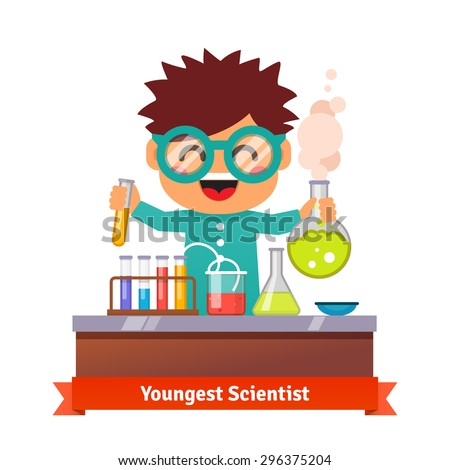 Youngest scientist. Baby kid doing chemistry experiments. Holding flask and test tube in hands. Flat style vector cartoon illustration. - stock vector