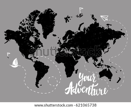Your adventure drawing by hand childrens stock vector 621065738 your adventure drawing by hand childrens drawing world map geographical map gumiabroncs Image collections