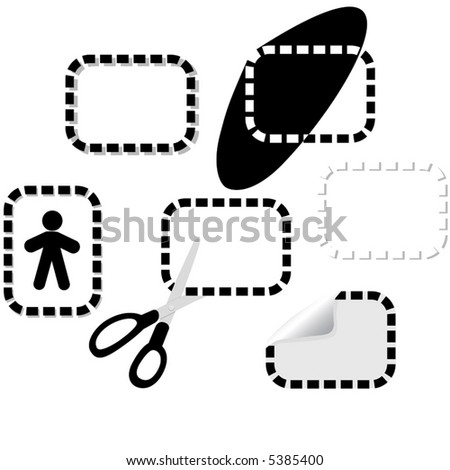 Your pages have continuity & variation with these dotted line design elements: peel; coupon & scissors; icon setting; drop shadows... - stock vector