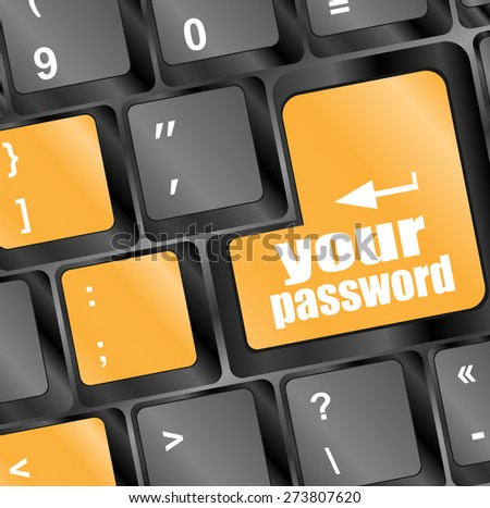 your password button on keyboard keys - security concept vector  - stock vector