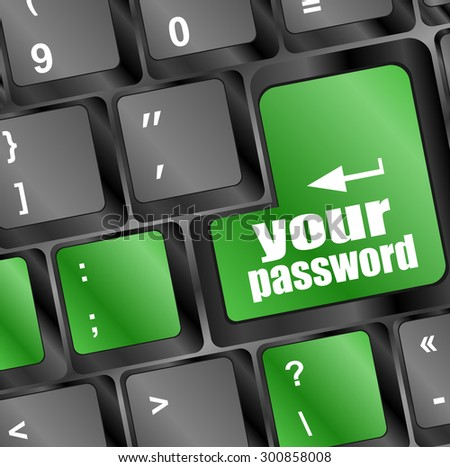 your password button on keyboard keys - security concept. vector illustration - stock vector